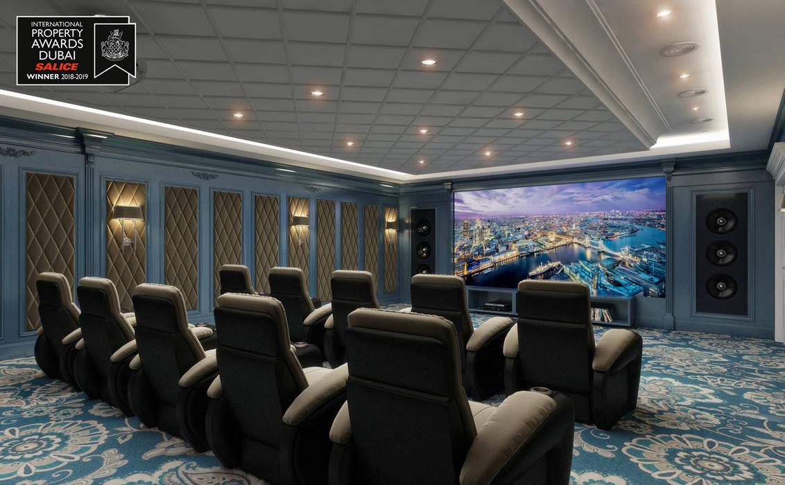 Home Theater Room / Sitak Villa od Sia Moore Archıtecture Interıor Desıgn Klasyczny Lite drewno Wielokolorowy