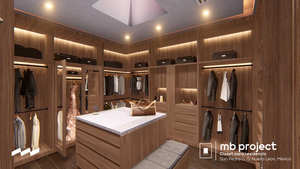 """Vista 2 Walking Closet """"MB"""" (Anteproyecto) Vestidores modernos de Well Arquitectura Moderno Madera Acabado en madera"""