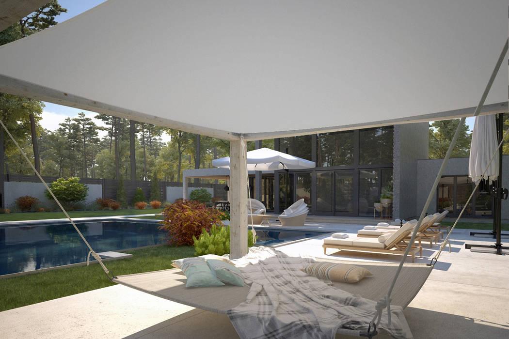 Sia Moore Archıtecture Interıor Desıgn – Dinlenme Alanı / Kaş Villa :  tarz Ön avlu, Modern Seramik