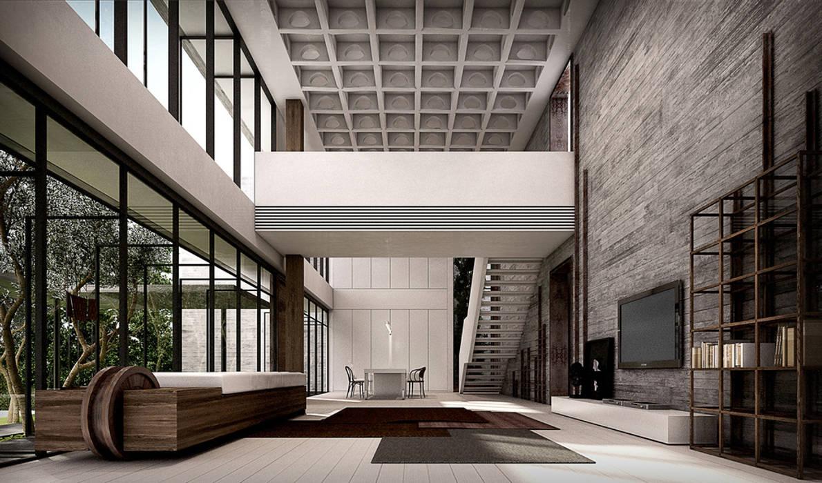 :  ห้องนั่งเล่น โดย Metaphor Design Studio, มินิมัล