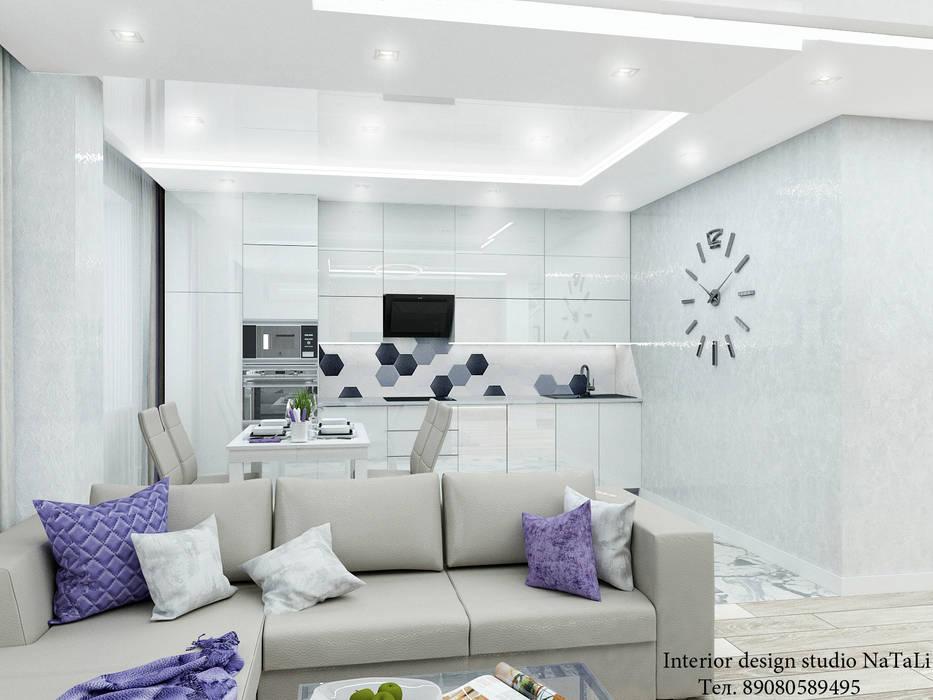 Дизайн интерьера в ЖК Ньютон: Гостиная в . Автор – Студия дизайна интерьера Натали