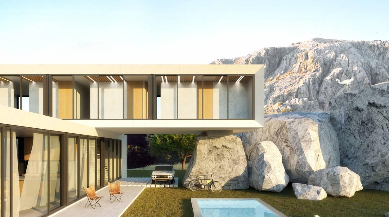Vivienda cúbica de diseño moderno en Andalucía: Villas de estilo  de POA Estudio Arquitectura y Reformas en Córdoba