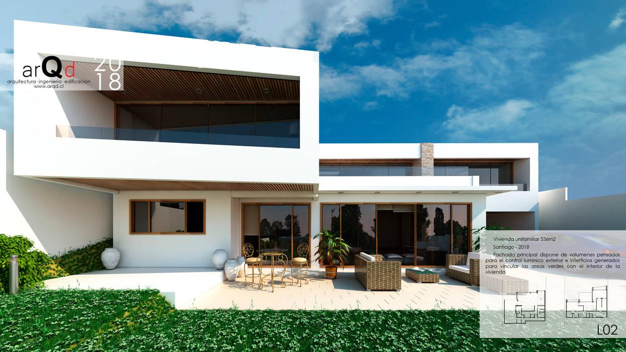Fachada Principal: Casas unifamiliares de estilo  por ARQD spa, Mediterráneo Concreto reforzado