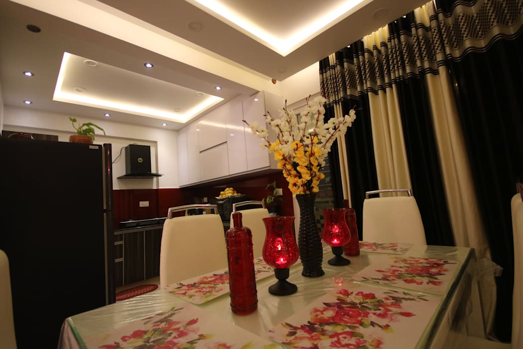 Dining - Open Kitchen Concept:  Dining room by Enrich Interiors & Decors,