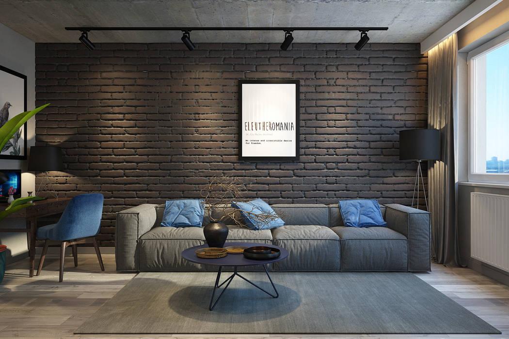 Визуализация проекта 2-х комнатной квартиры, г.Киев: Гостиная в . Автор – dm-interiors.com.ua, Лофт Бетон