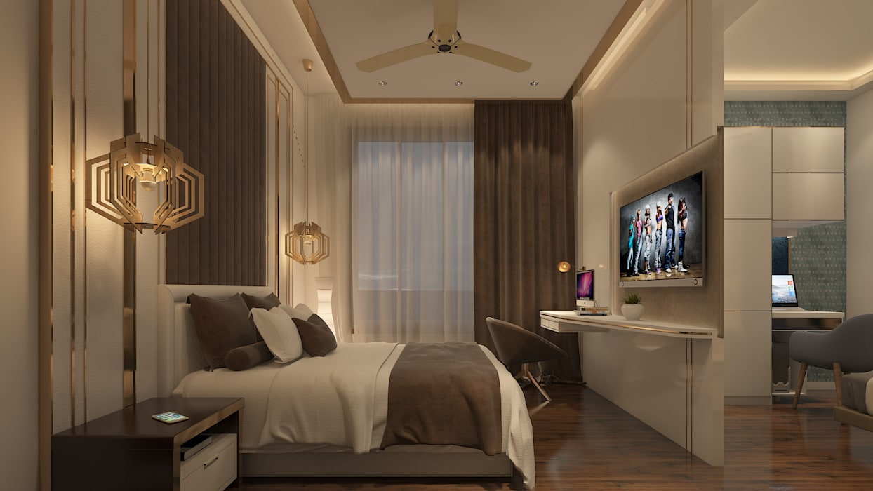 The headboard and tv unit design:  Bedroom by Sagar Shah Architects