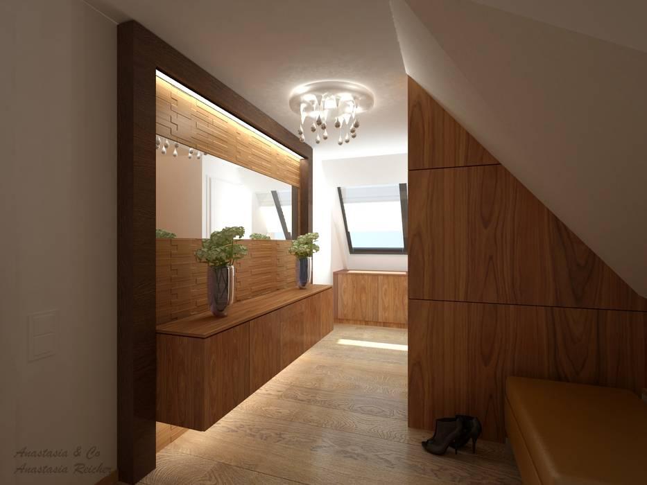 Couloir, entrée, escaliers modernes par Anastasia Reicher Interior Design & Decoration in Wien Moderne Bois Effet bois