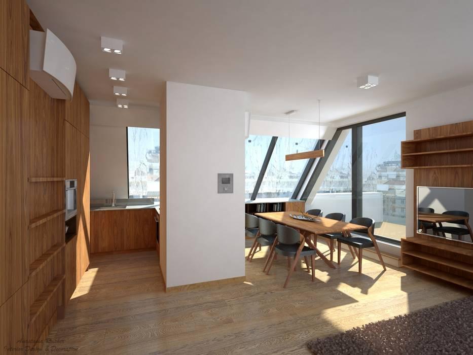 Wohnküche aus holz moderne esszimmer von anastasia reicher ...