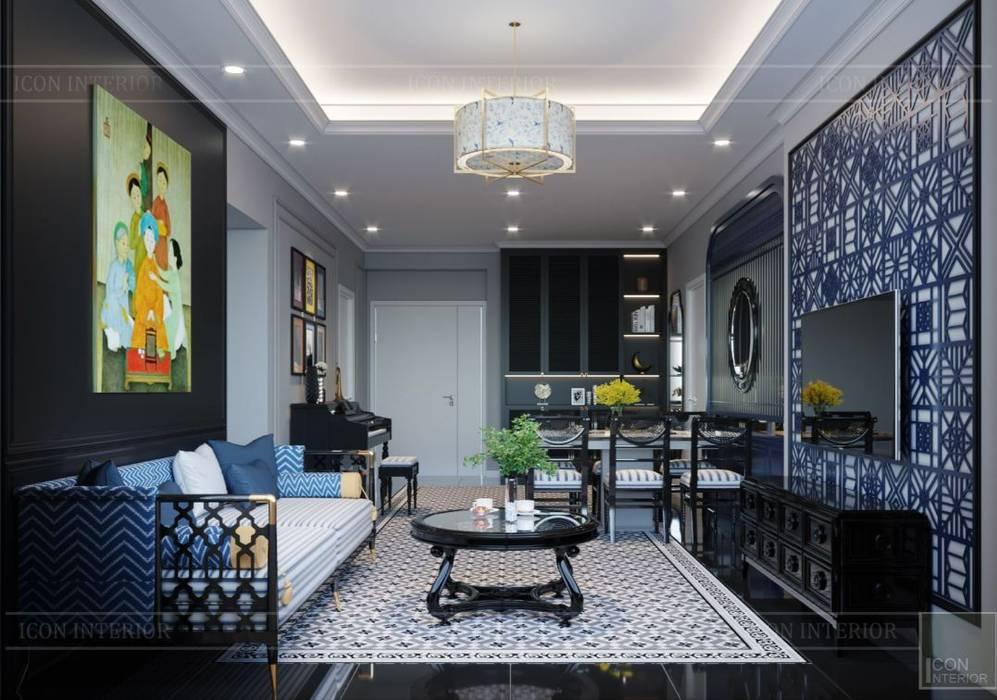 PHONG CÁCH ĐÔNG DƯƠNG - Một vẻ đẹp thuần túy trong Thiết kế căn hộ Saigon Pearl Phòng khách phong cách châu Á bởi ICON INTERIOR Châu Á