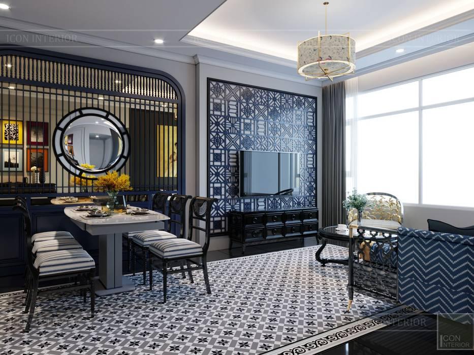 PHONG CÁCH ĐÔNG DƯƠNG - Một vẻ đẹp thuần túy trong Thiết kế căn hộ Saigon Pearl Phòng ăn phong cách châu Á bởi ICON INTERIOR Châu Á