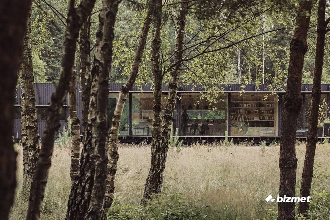 Minimalistyczny dom - stolarka aluminiowa od Przedsiębiorstwo Bizmet Spółka z o.o. Minimalistyczny Drewno O efekcie drewna