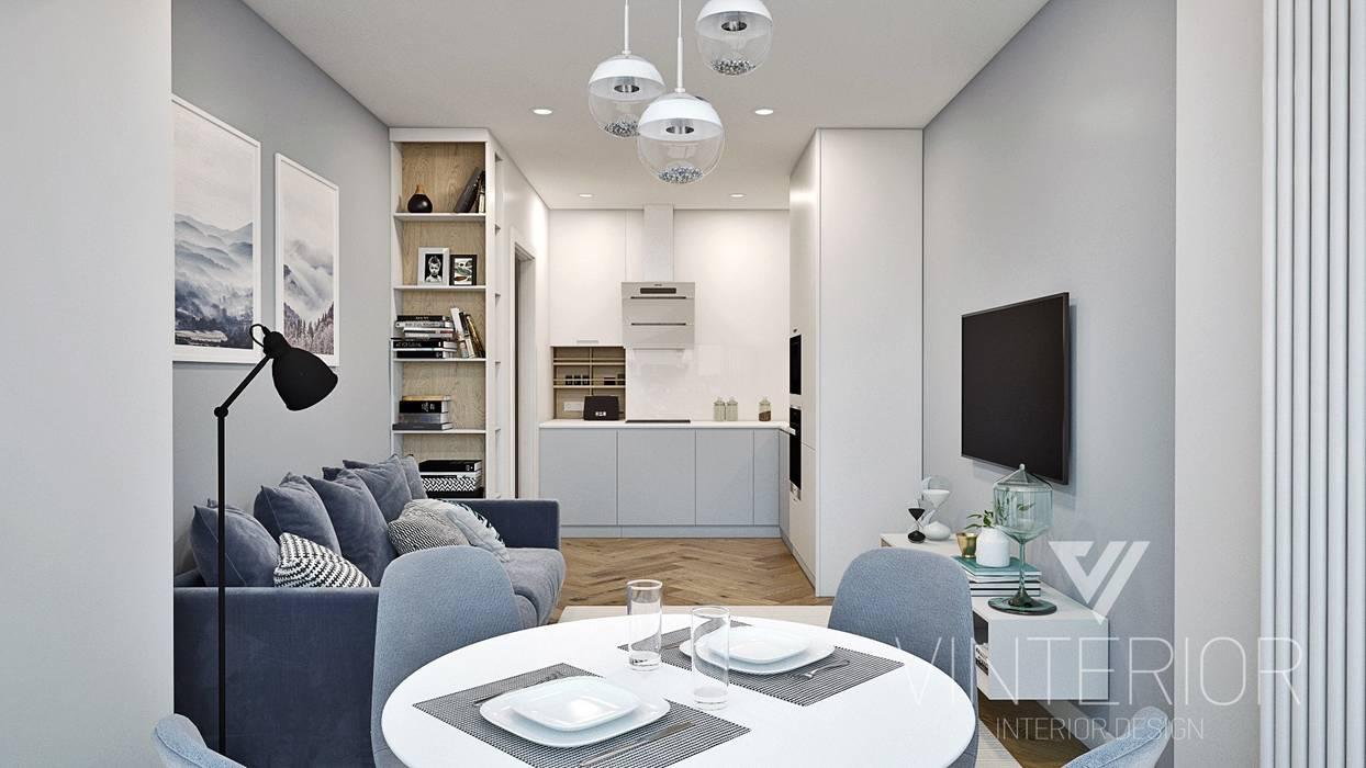 Grey&White one room flat Modern living room by Vinterior - дизайн интерьера Modern