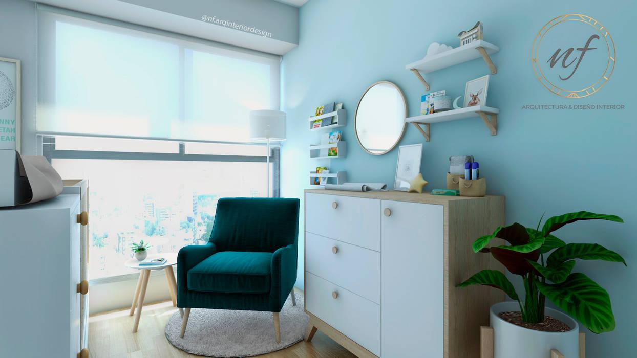 Propuesta Dormitorio Bebé : Cuartos para bebés de estilo  por NF Diseño de Interiores , Escandinavo