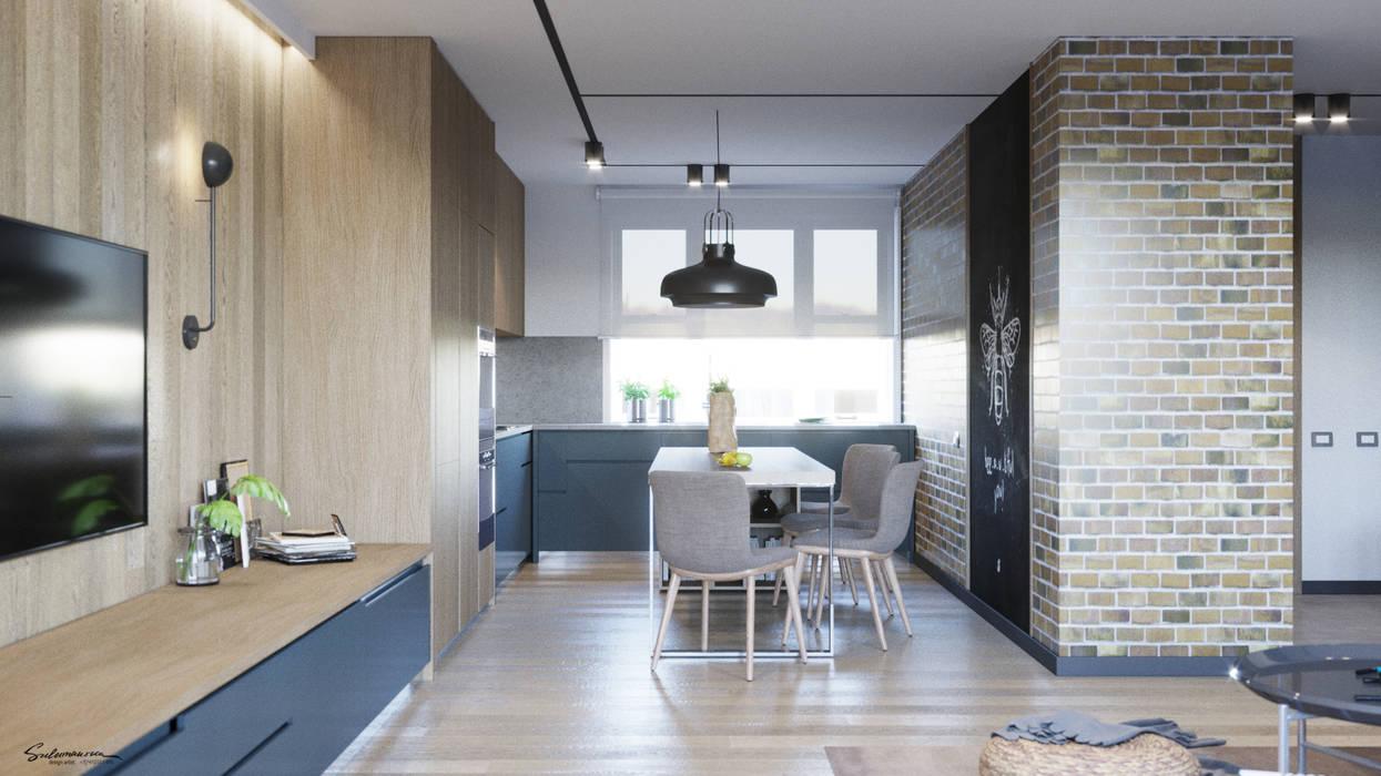 58 m2: Кухни в . Автор – Suleimanova interior,