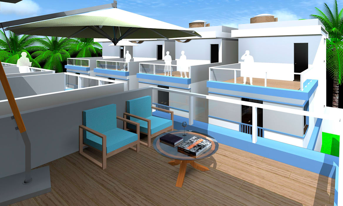 Lindo e confortável terraço Varandas, alpendres e terraços modernos por ARQ-PB Arquitetura e Construção Moderno Ardósia