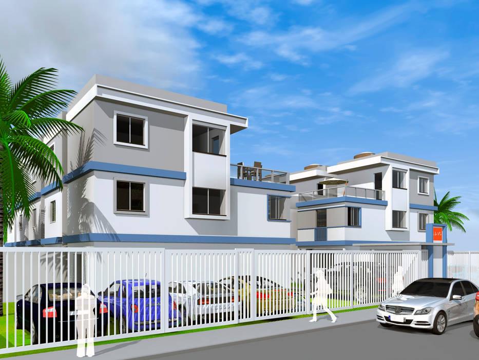 Fachada detalhando a linda textura de cores : Vilas  por ARQ-PB Arquitetura e Construção,Moderno Tijolo