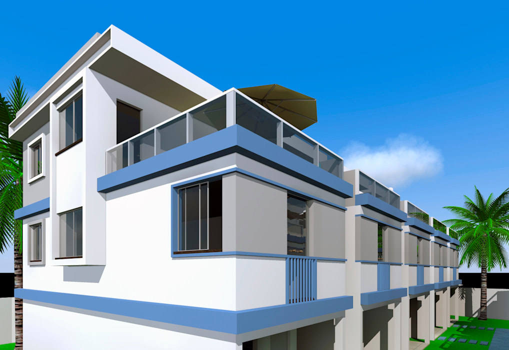 Imagem externa dos terraços com guarda corpo de alumínio e vidros muito elegante e leve : Vilas  por ARQ-PB Arquitetura e Construção,Moderno Tijolo