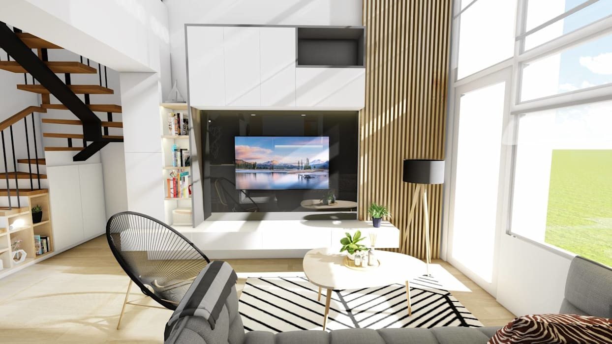 Interior Fit-Out and Design for a Condo Unit:  Living room by Structura Architects,