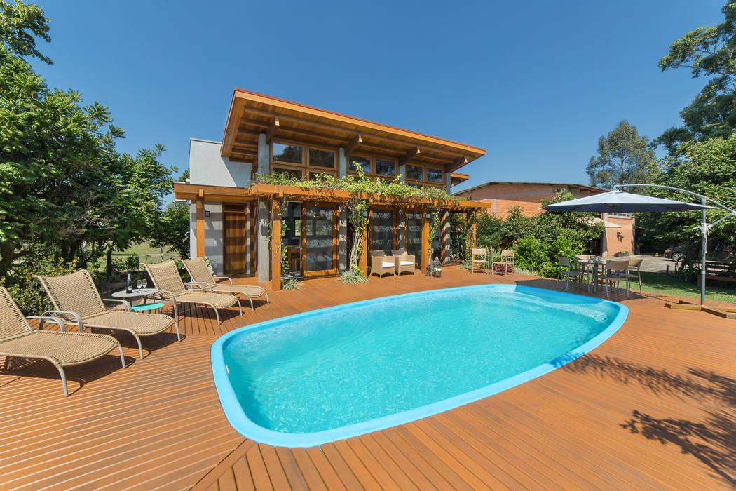 Salão de festas Palmital: Casas do campo e fazendas  por Arqsoft Arquitetura e Engenharia LTDA