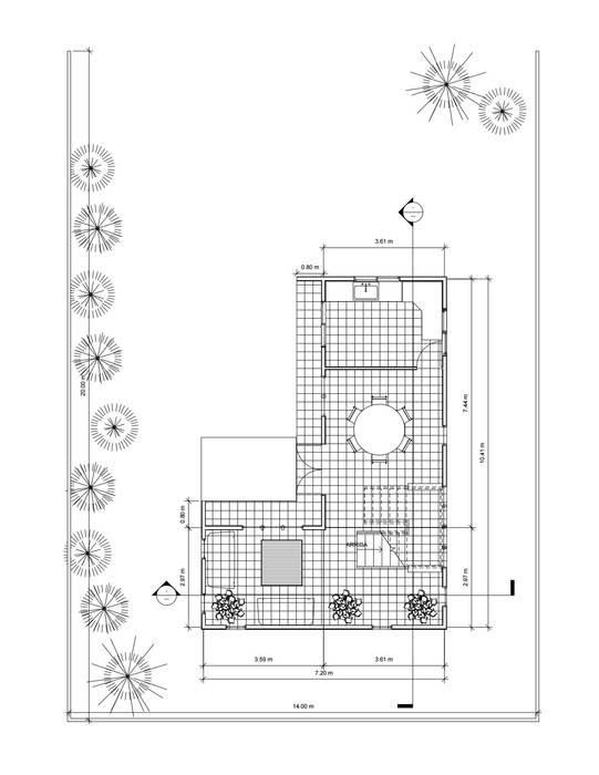 Planta 1° piso: Casas de estilo  por Constructora Alonso Spa