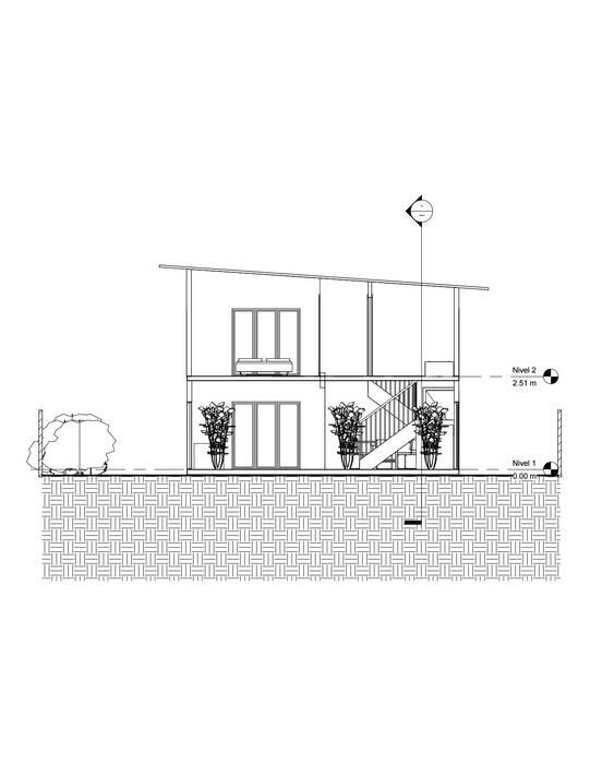 Corte transversal Casas de estilo mediterráneo de Constructora Alonso Spa Mediterráneo