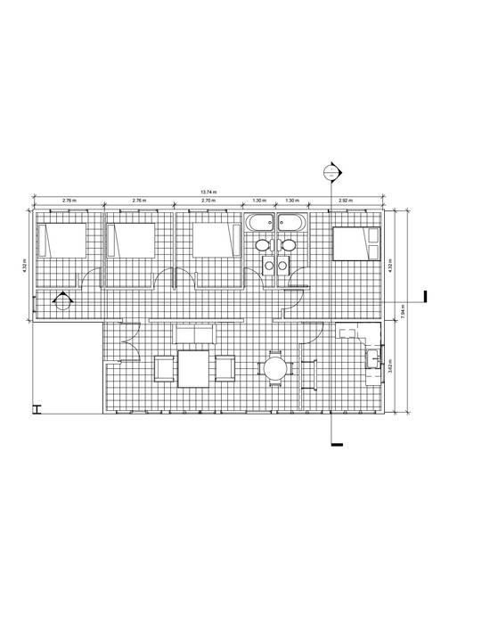 Planta 1° piso Casas de estilo rústico de Constructora Alonso Spa Rústico