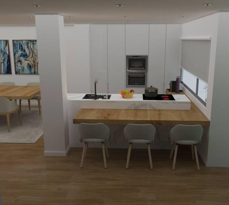 Cozinha simples integrada: Armários de cozinha  por Casactiva Interiores