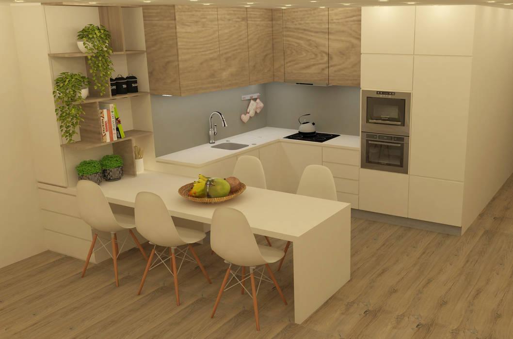 Cozinha moderna com decoração clean : Cozinhas pequenas  por Casactiva Interiores