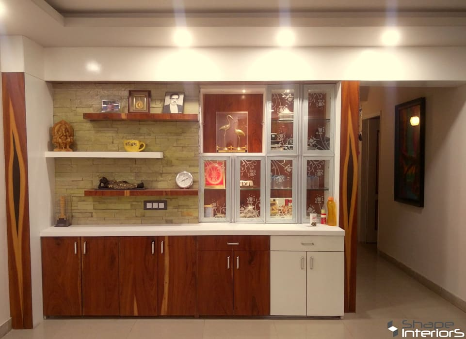 Crockery unit with storage and display unit in living hall:  Dining room by Shape Interiors,Asian Wood Wood effect