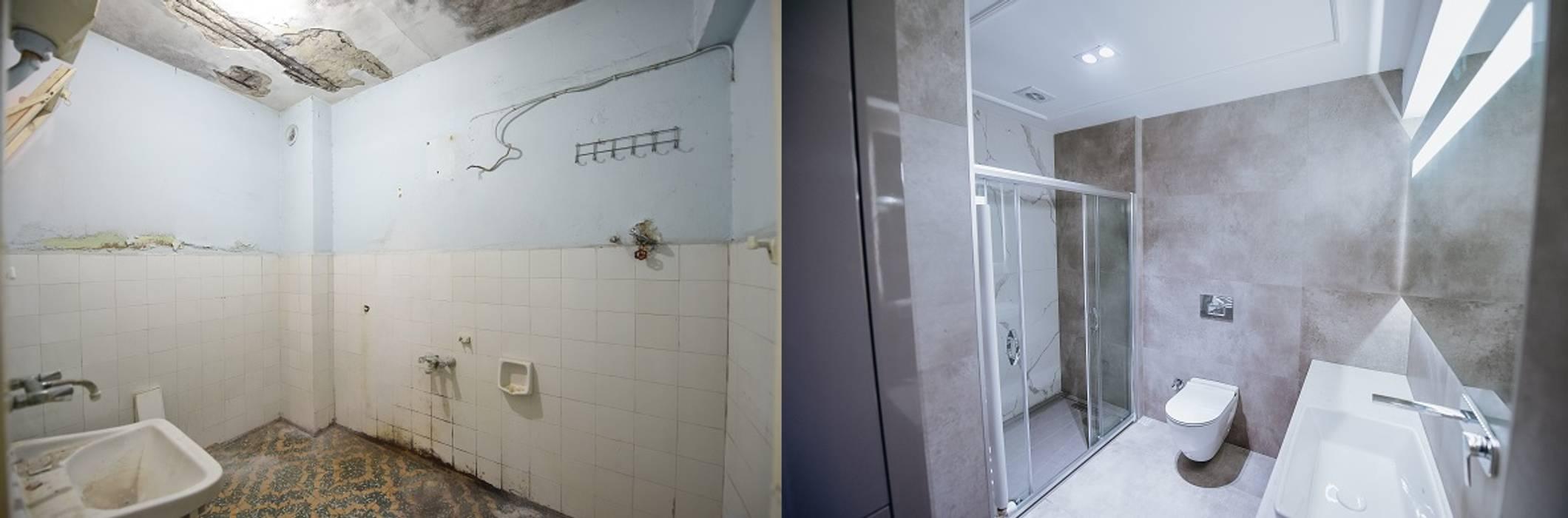 Orby İnşaat Mimarlık – Banyo - Öncesi / Sonrası:  tarz