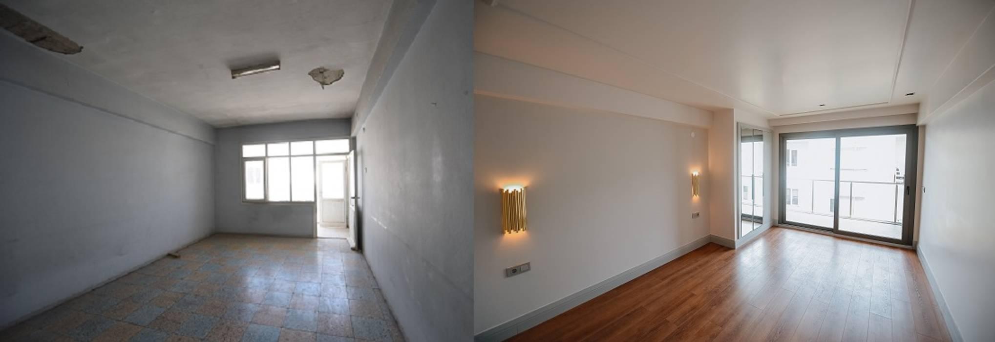 Orby İnşaat Mimarlık – Yatak Odası - Öncesi / Sonrası:  tarz