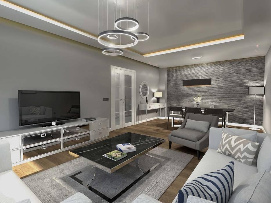Orby İnşaat Mimarlık – İç mekan - 3 boyutlu görsel:  tarz Oturma Odası,