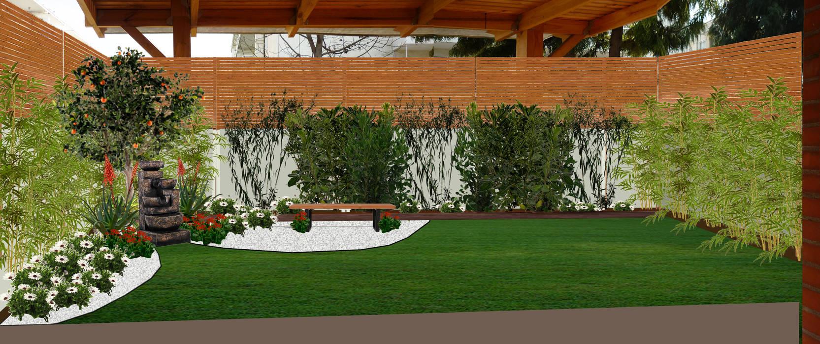 PROPUESTA DE DISEÑO- RENDER - IMAGEN FOTORREALISTA: Jardines de estilo  por HZ ARQUITECTOS SANTIAGO DISEÑO COCINAS JARDINES PAISAJISMO REMODELACIONES OBRA, Minimalista
