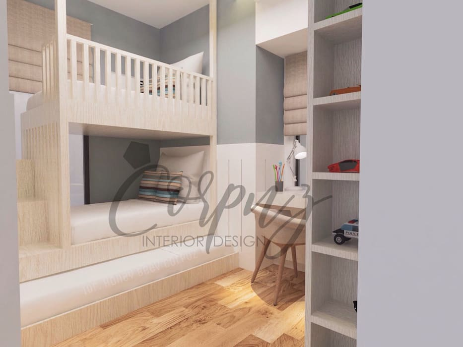 Modern Chic: Aesthetically functional:  Nursery/kid's room by Corpuz Interior Design,