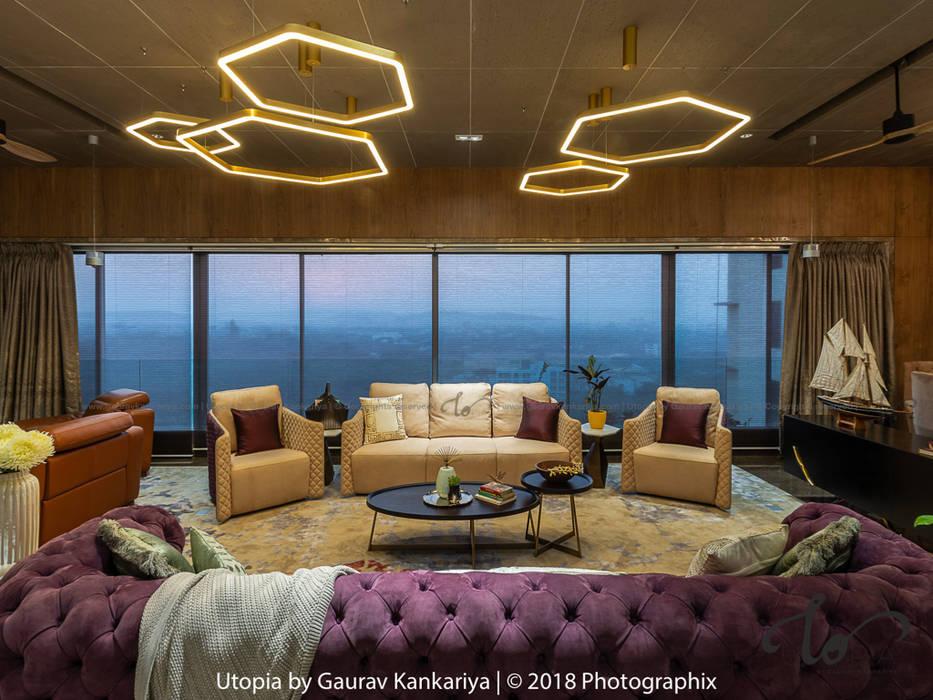 现代客厅設計點子、靈感 & 圖片 根據 Utopia by Gaurav Kankariya 現代風