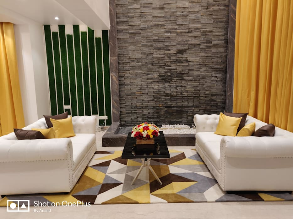Drawing Room :  Living room by Enrich Interiors & Decors,