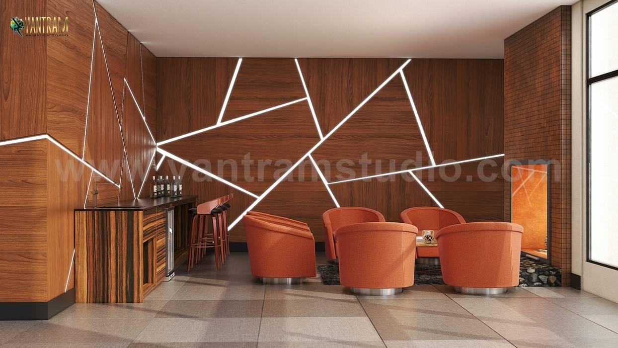 Home office Wine Room Concept of 3d interior rendering, Vegas – USA Moderne Weinkeller von Yantram Architectural Design Studio Modern