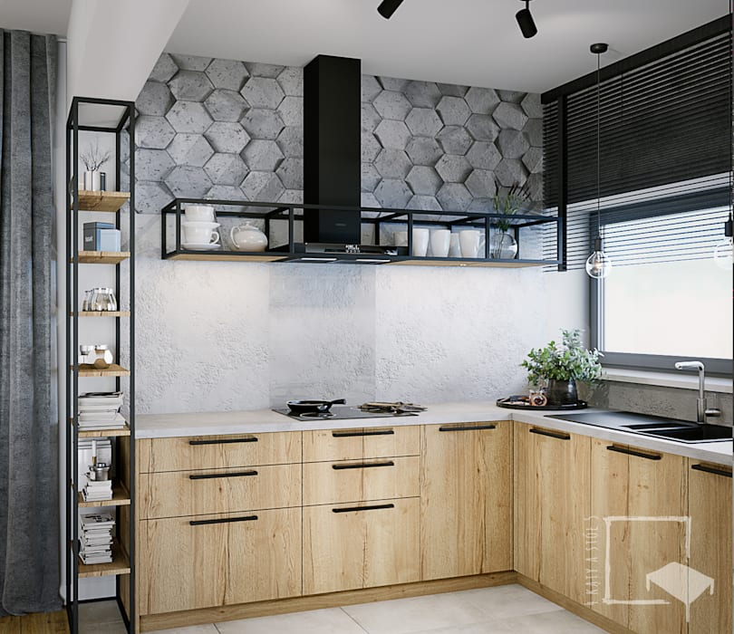 Muebles de cocinas de estilo  por 4 kąty a stół 5 Pracownia Projektowa Ewelina Białobrzewska