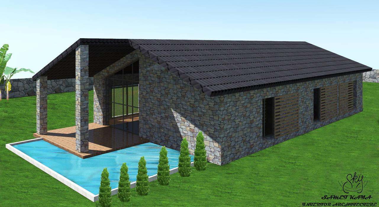 taş ev tasarımı SKY İç Mimarlık & Mimarlık Tasarım Stüdyosu Akdeniz