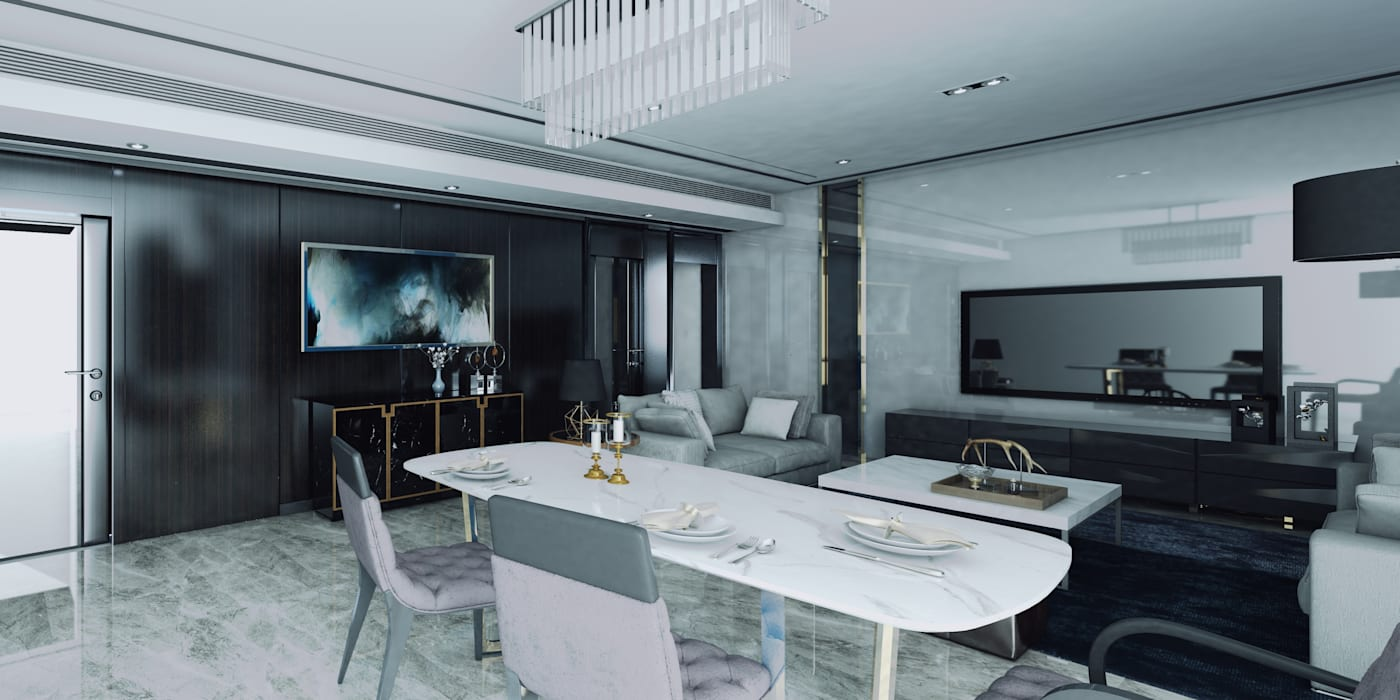 Interior Comedor Vista 01 Comedores de estilo moderno de CR.3D Modeling & Rendering Moderno Granito