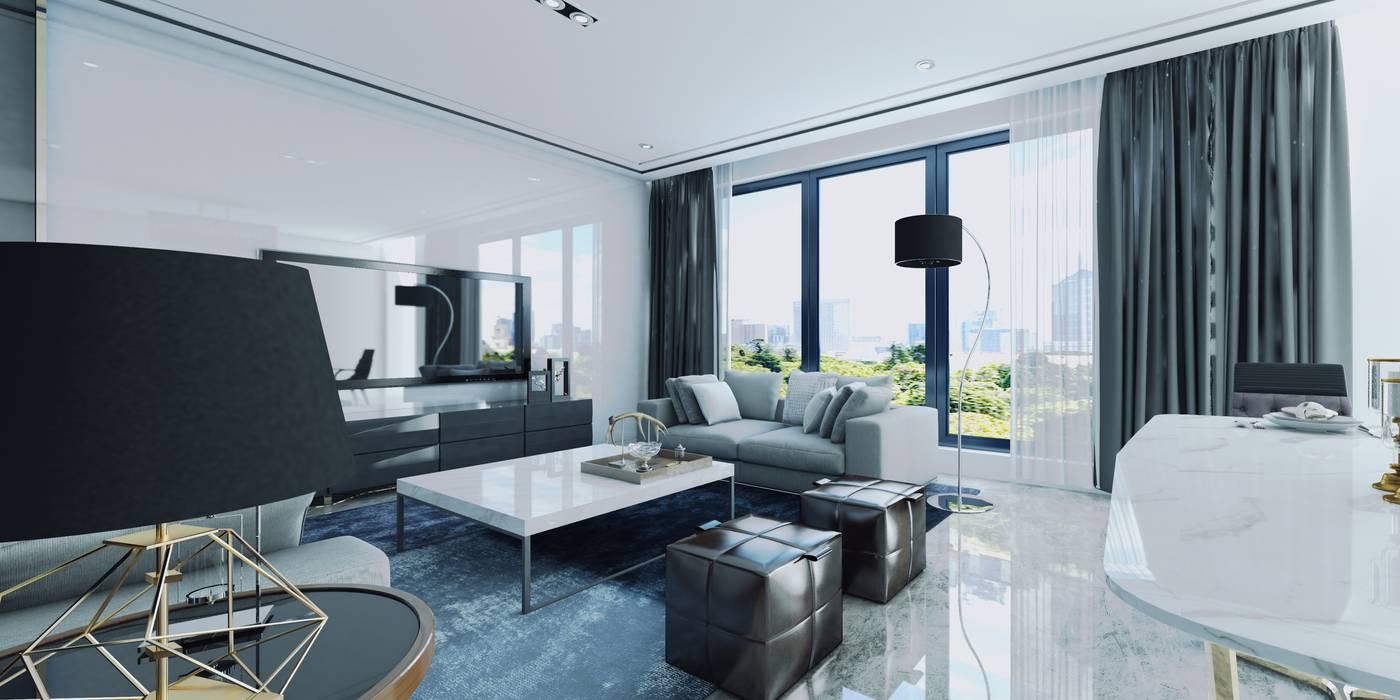 Vista Interior Estar 01: Livings de estilo  por CR.3D Modeling & Rendering