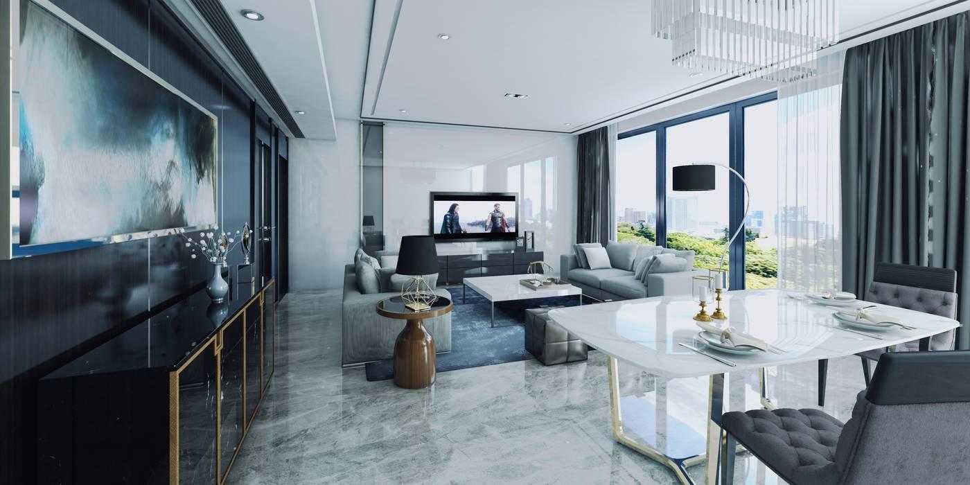 Vista interior Estar y comedor CR.3D Modeling & Rendering Comedores de estilo moderno Concreto reforzado Blanco