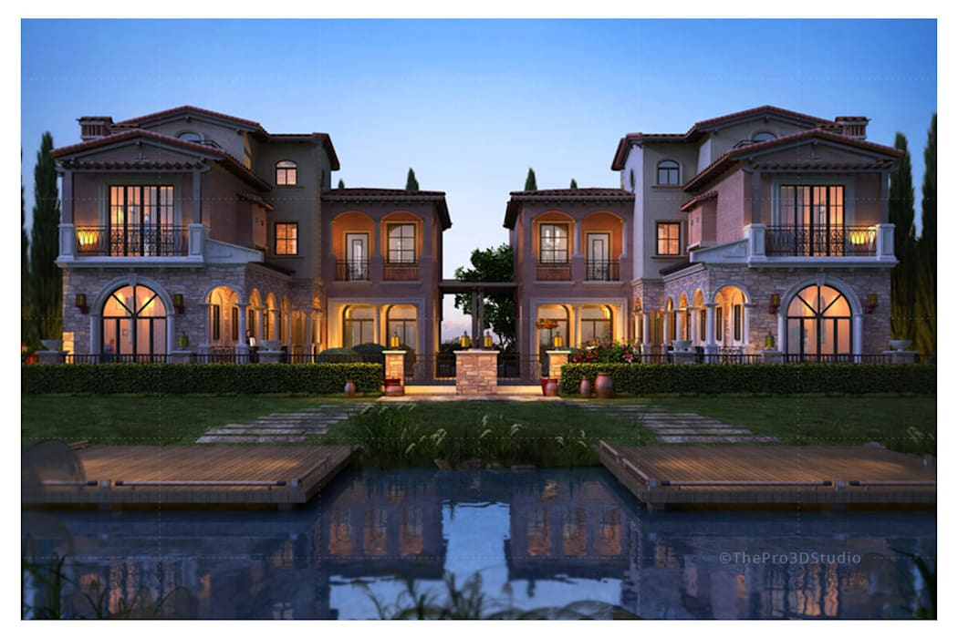 Architectural 3d Exterior Rendering:  Houses by ThePro3DStudio,Modern