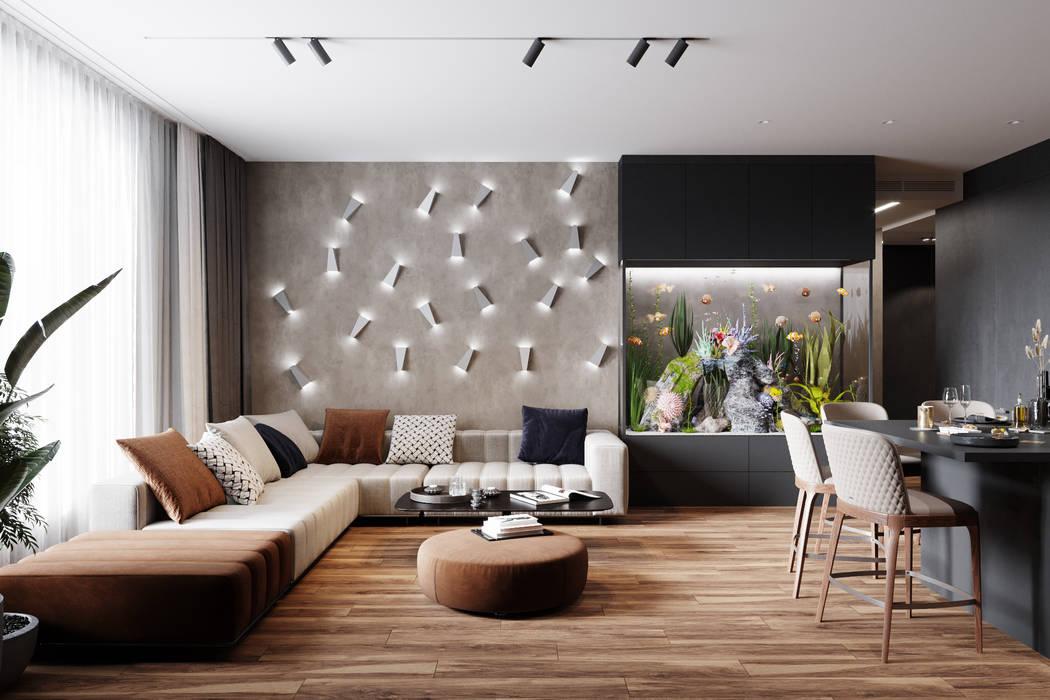 Livings de estilo  por Студия архитектуры и дизайна Дарьи Ельниковой, Minimalista