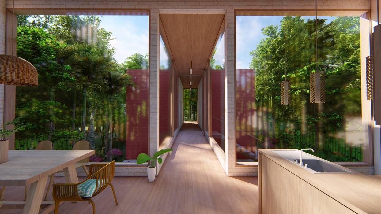 Tropical corridor, hallway & stairs by Eva Arceo Interiorismo Tropical Wood Wood effect