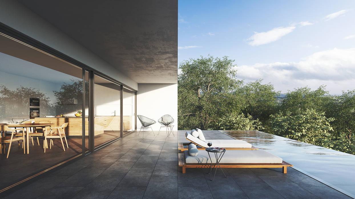 Terraço e piscina infinita exterior: Terraços  por FMO ARCHITECTURE