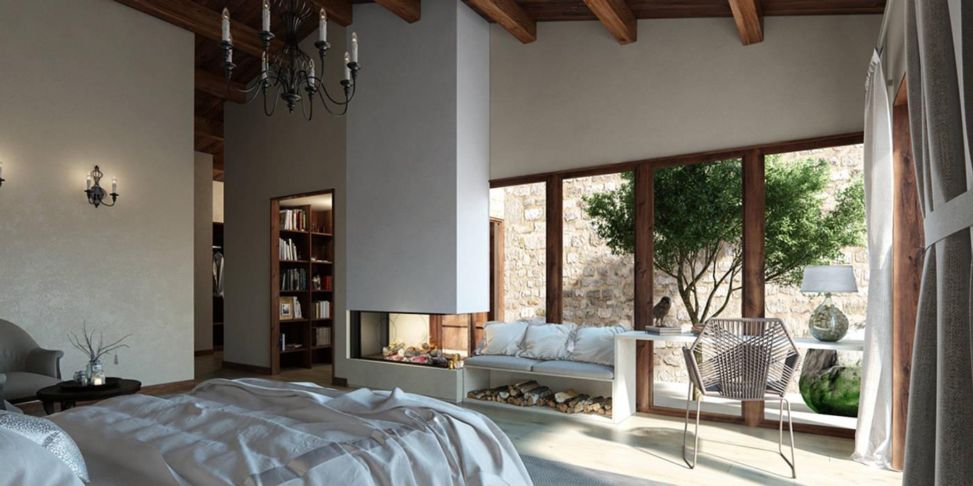 Vivienda unifamiliar aislada (Teruel).: Dormitorios de estilo  de Bau Arquitectura