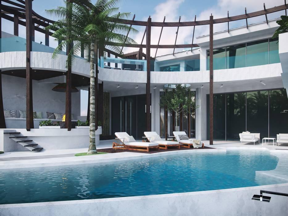 Вилла в Канкуне: Дома с террасами в . Автор – Антон Васьков, Тропический Бетон