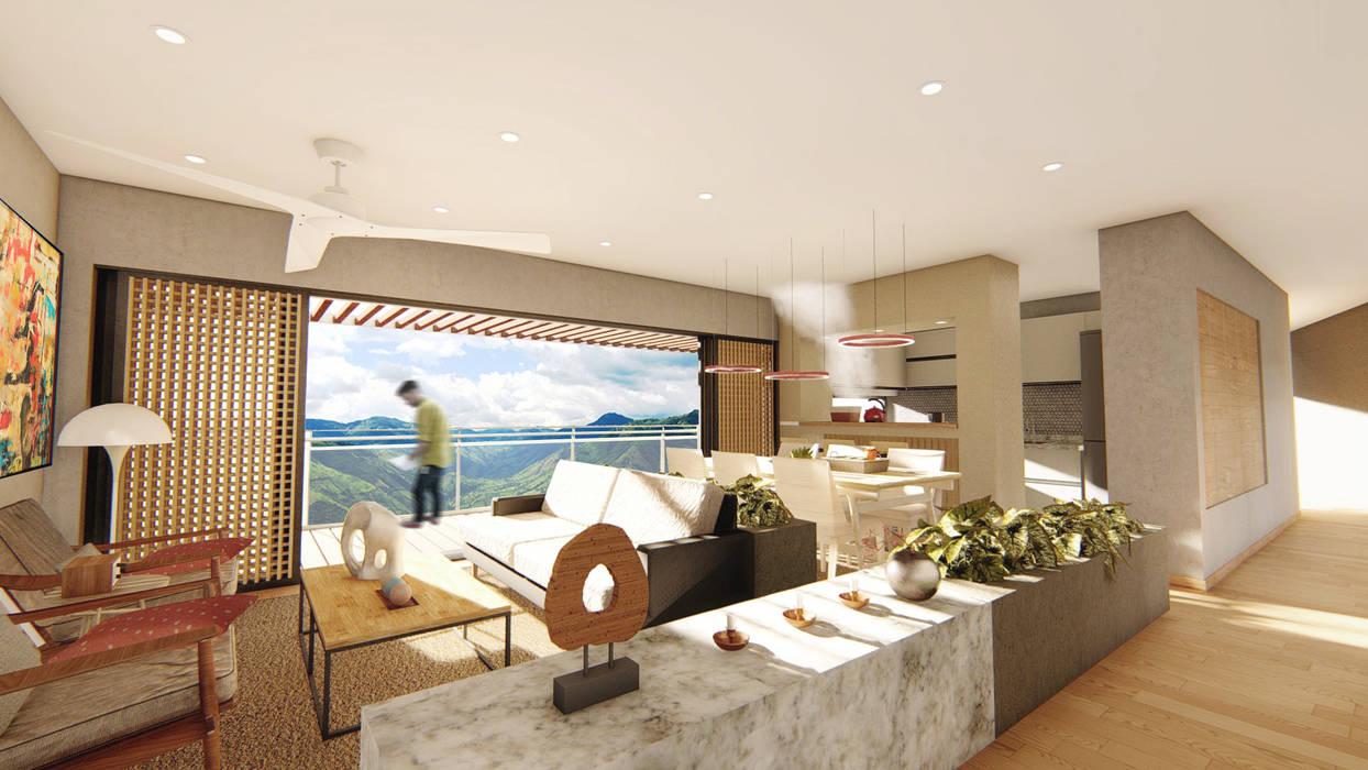 Interiores Casa Guerrero Guzmán Salas modernas de Áureo Arquitectura Moderno Concreto