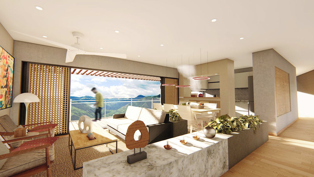 Ruang Keluarga Modern Oleh Áureo Arquitectura Modern Beton